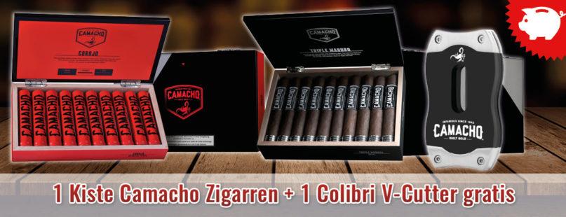 1 Kiste Camacho Zigarren + 1 Colibri V-Cutter gratis