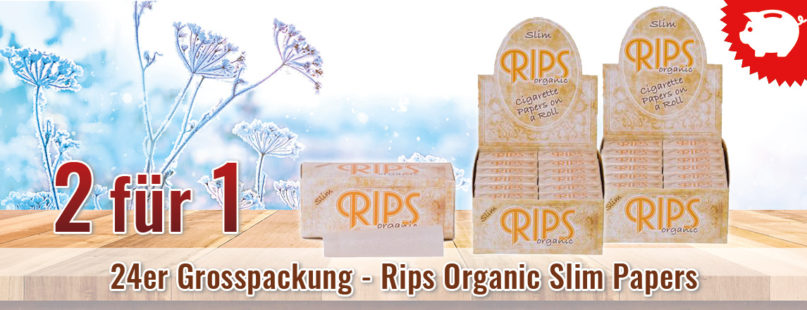 2 für 1 - 24er Grosspackung - Rips Organic Slim Papers