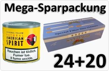 24 Dosen American Spirit Yellow + Doppelfilterhülsen