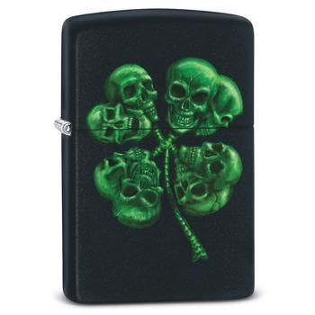 Zippo Four Leaf Clover Skull 60002719