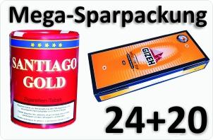 24 Dosen Santiago Gold + 4000 Silver Tip Aktivkohle
