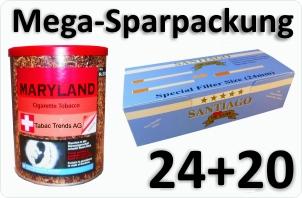 24 Dosen Maryland natur + 4000 Doppelfilterhülsen