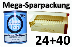24 Dosen Chee tah blau + 4000 Weisse Filterhülsen