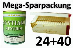 24 Dosen Santiago Menthol + 4000 Weisse Filterhülsen