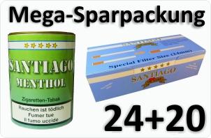 24 Dosen Santiago Menthol + 4000 Doppelfilterhülsen