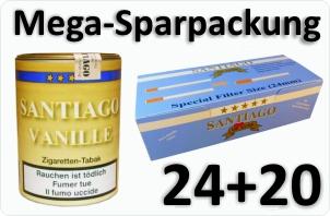 24 Dosen Santiago Vanille + 4000 Doppelfilterhülsen