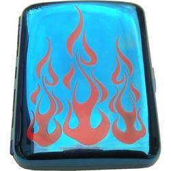 Zigaretten Etui Chrom Blue & Flammen
