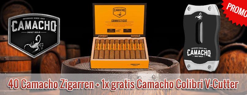 40 Camacho Zigarren + gratis Camacho Colibri V-Cutter