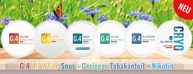 G.4 All White Snus - Geringer Tabakanteil + Nikotin