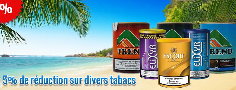 5% de réduction sur divers tabacs