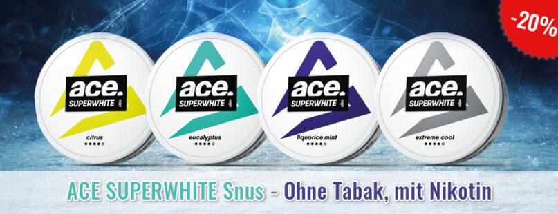 ACE SUPERWHITE Snus - Ohne Tabak, mit Nikotin