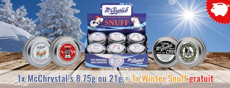 1x McChrystal's 8.75g ou 21g = 1x Winter Snuff gratuit