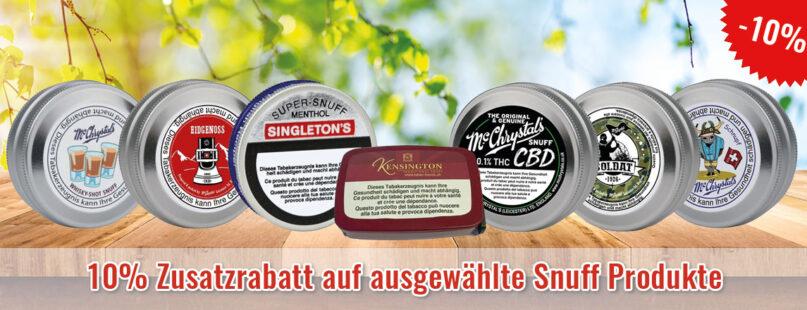10% Zusatzrabatt auf ausgewählte Snuff Produkte