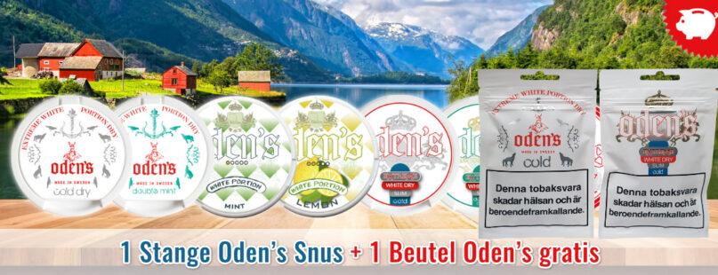 1 Stange Oden's Snus + 1 Beutel Oden's gratis