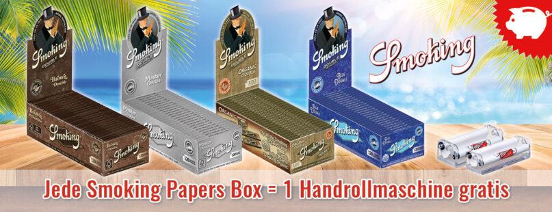 Jede Smoking Papers Box = 1 Handrollmaschine gratis
